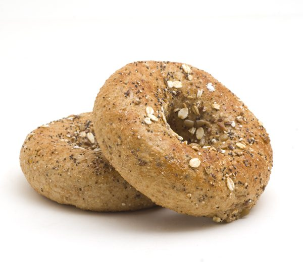 Close photo of two 12 grain bagels